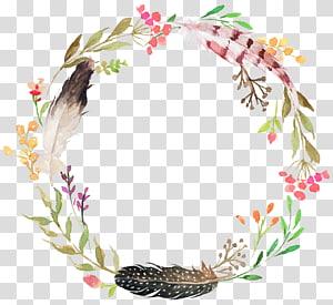 sen department of beautiful,painted watercolor wreath PNG clipart