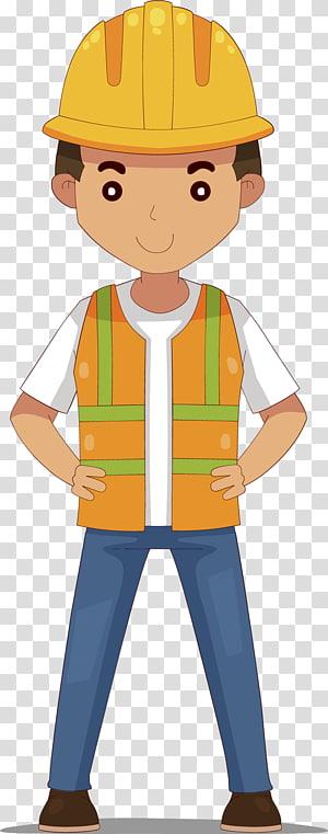 construction worker , Civil Engineering Maintenance engineering, Cartoon hand-painted helmet engineer PNG