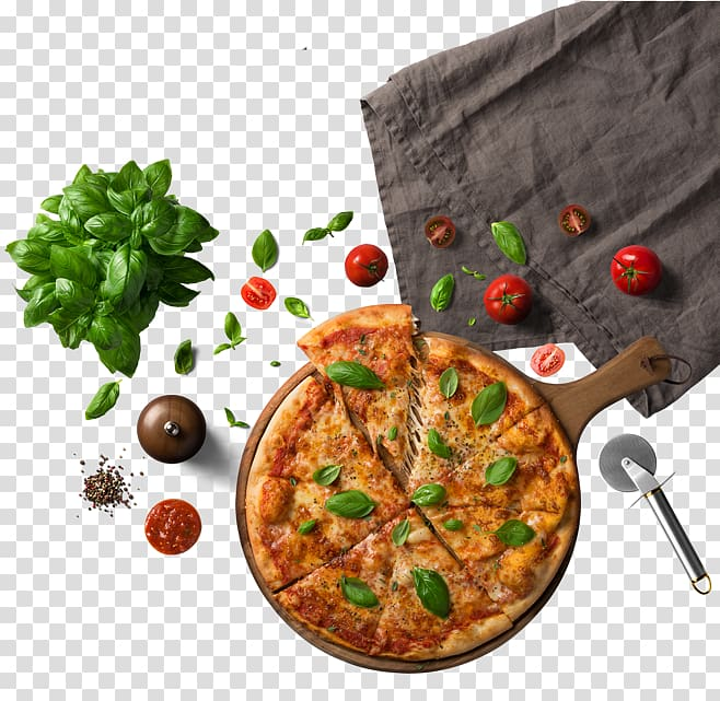 Pizza Chili con carne Food Pasta Ingredient, Pizza next to the tablecloth, slice pizza beside basil PNG clipart