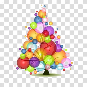 Christmas tree Bubble light, Colorful bubbles tree PNG