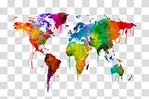 World map Watercolor painting Canvas, world map PNG