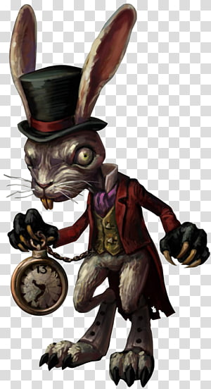 Alice in Wonderland Rabbit with clock character, American McGee's Alice Alice: Madness Returns White Rabbit Alice's Adventures in Wonderland Cheshire Cat, mad hatter PNG clipart