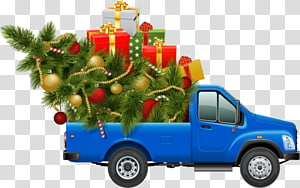 hand-painted christmas car PNG clipart