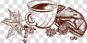 Coffee Cafe Illustration, Hand-painted coffee PNG