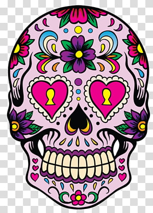 Calavera Skull Day of the Dead Decal Mexican cuisine, skull PNG