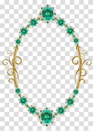 Jewellery Frames Necklace Gemstone Gold, emerald PNG clipart