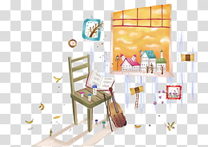 Window Cartoon Illustration, Violin Learning Room PNG clipart