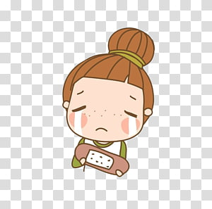 Cartoon Child Crying Illustration, Holding the keyboard crying little girl PNG clipart