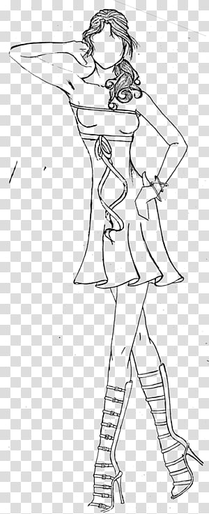 Drawing Line art Cartoon Sketch, casual dress PNG clipart