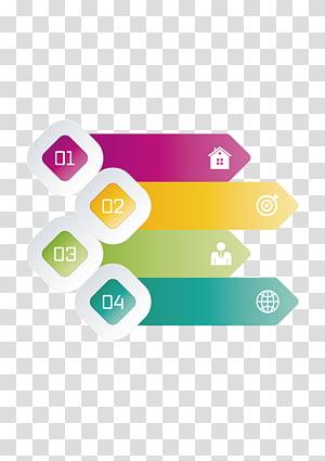 four assorted-color illustrations, Diagram Template Arrow, ppt element PNG