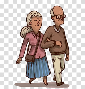 couple Cartoon Drawing Illustration, Old couple arm in arm PNG clipart