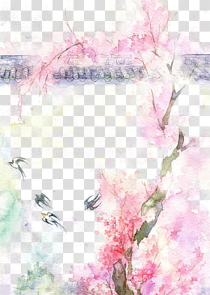 pink flowering tree background template, Watercolor painting Drawing, Antiquity beautiful watercolor illustration PNG