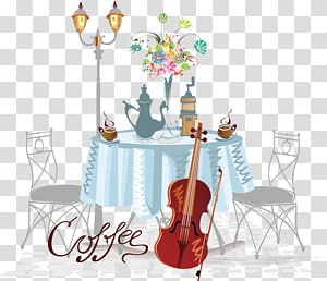 Cafe Drawing Illustration, Hand-painted banquet tables and chairs PNG