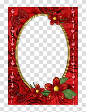 Mirror frame Red, Red mirror frame PNG clipart