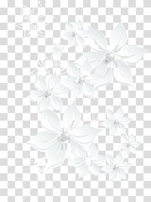 hand painted flower border PNG clipart