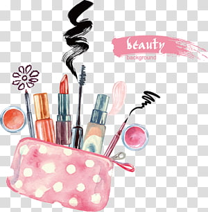 assorted-color makeup accessory kit, Lipstick Cosmetics Watercolor painting Eye shadow, Hand-painted cosmetics PNG clipart