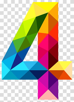Papua New Guinea Icon Number Data, Colourful Triangles Number Four , multicolored 4 illustration PNG clipart