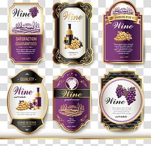 six wine bottle labels, Wine label Vintage, Wine logo PNG