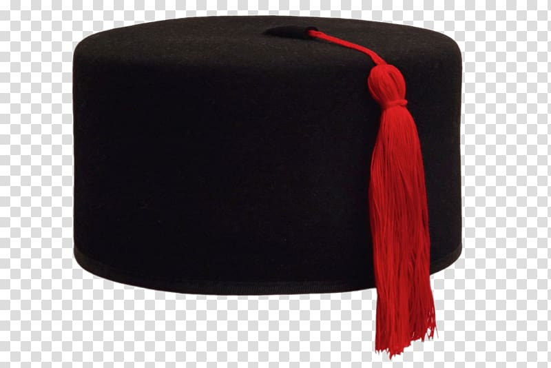 black mortar board with red tassel, Fur Felt Black Fez PNG