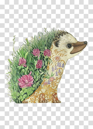 Hedgehog Artist Watercolor painting Drawing, Flower hedgehog PNG