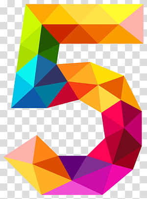 Number , Colourful Triangles Number Five , yellow, blue, and purple 5 letter PNG