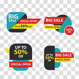 Sales Logo Banner, Colorful shopping sale flyer poster brochure template, discount sale elements for advertising, four Big Sale Special Offer stickers PNG
