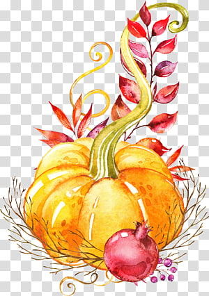 orange pumpkin illustration, Pumpkin Autumn Vegetable Watercolor painting Platter, Hand-painted vegetable PNG