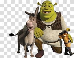 Shrek and friends , Shrek 2 Donkey Puss in Boots Princess Fiona, Shrek PNG