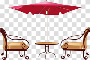 Table Cafe , Hand-painted outdoor parasol Liang Yi PNG