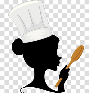 a woman chef with a spoon in her hand PNG