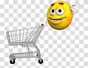 Shopping Smiley Emoticon , Yellow villain and shopping cart PNG clipart