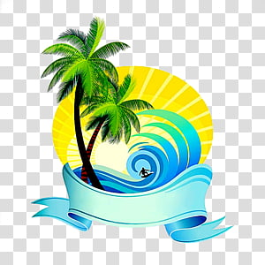 palm tree and waves illustration, Summer sea decoration PNG