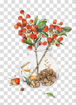 red flowers in vase , Watercolor painting Drawing Vase Illustration, vase PNG