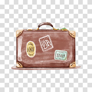 brown and beige suitcase, Travel Watercolor painting Suitcase, Vintage watercolor luggage PNG clipart