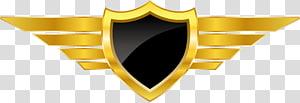 yellow and black shield emblem illustration, Logo Euclidean , golden badge shield design PNG