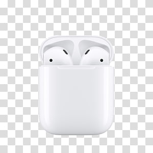 white AirPods with charging case art, AirPods MacBook iPod touch Microphone Apple, aluminum PNG
