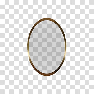 oval brass-colored frame , Circle Pattern, Oval-shaped metal frame mirror PNG clipart
