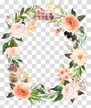 fresh pink flowers garland PNG clipart