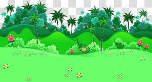 trees and flowers , Cartoon Forest Illustration, Forest hillside PNG clipart