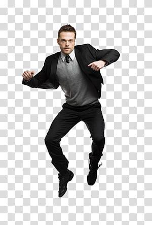 man jumps wearing black jacket, rm Dance , Jump up man PNG