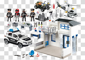Police station Playmobil Police officer Police car, police helicopter PNG clipart