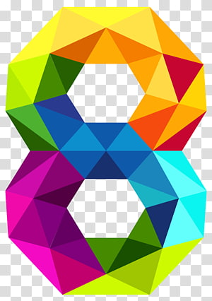 Number , Colourful Triangles Number Eight , multicolored illustration PNG
