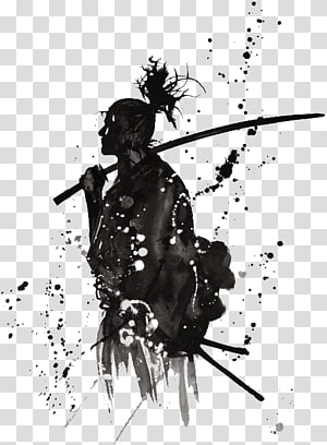 man holding sword illustration, Samurai Japan Katana Warrior, samurai PNG