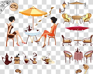 Coffee Cafe Drink Illustration, coffee table and chairs PNG