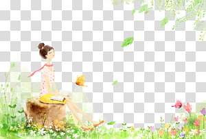 Girl on the wooden pier PNG clipart