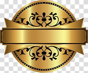 round gold and black frame illustration, Film, Cartoon gold label PNG