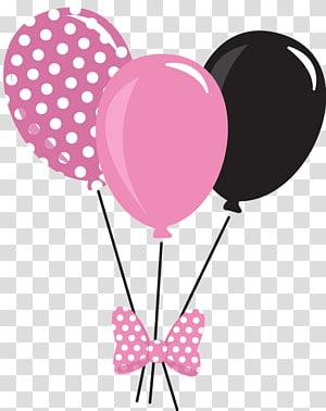 pink and black balloons illustration, Mickey Mouse Minnie Mouse Balloon , pink balloon PNG
