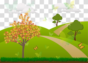 trees and butterflies illustration, Landscape Drawing Theatrical scenery Cartoon, Green Forest PNG clipart