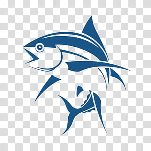 blue fish logo illustration, Logo Fishing Tuna, Fish cartoon logo design PNG clipart