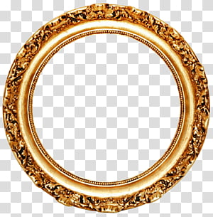 frame Mirror Circle Gold leaf, Golden Round Frame , round gold frame PNG clipart